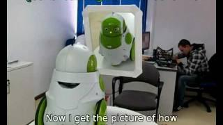QBO Robot in front of a mirror