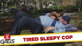 Tired cop sleeps in people's cars