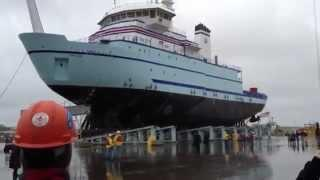 Launching New Ship at Port