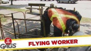 Flying Worker - Crazy Prank