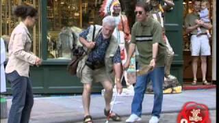 Blind man kicking oranges - funny video