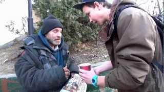 Magic trick makes homeless guy happy