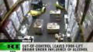 Forklift smashes massive vodka stock