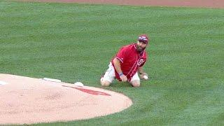Army veteran tosses grenade-style first pitch
