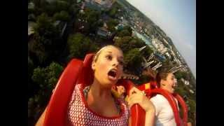 Terrified girl on a RollerCoaster