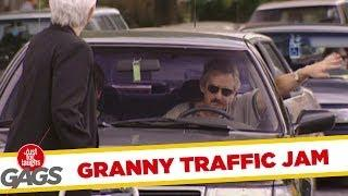 Grandma traffic jam - hidden camera joke