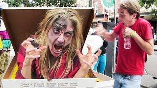 Zombie pizza - scary prank