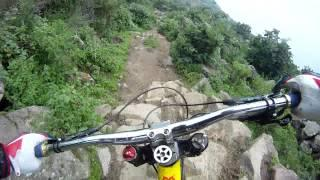 Fast downhill mountain biker