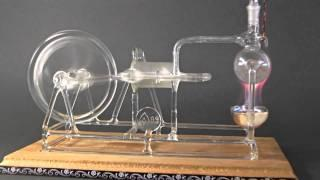 Steam engine model made of glass