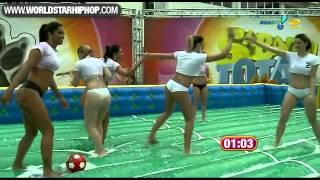 Beautiful young women playing soccer