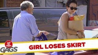 Girl Loses Her Skirt - Hidden Camera Joke