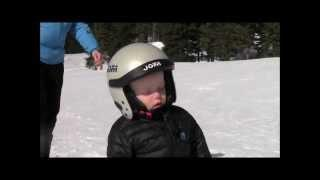 Tired young skier