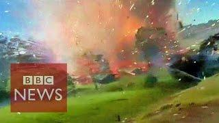 Huge explosion in a fireworks factory in Colombia