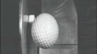 Golf Ball hitting steel super slow motion