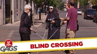 Blind crossing - hidden camera joke