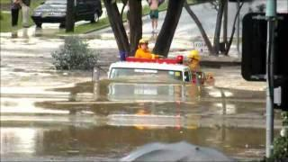 Firetruck in Melbourne Australia Flood