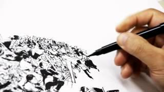 Awesome demonstration of drawing! Master Kim-Jung-Gi