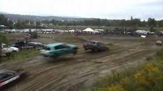 Car jump over another one while racing
