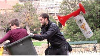 Air horn bin - scare prank