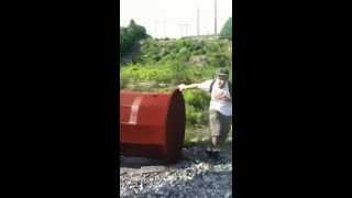 Pipe makes StarWars laser noise when hit with a rock