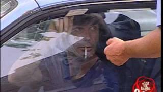 Policeman throwing food on car - crazy joke