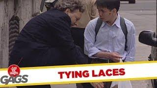 Tying laces - hidden camera prank